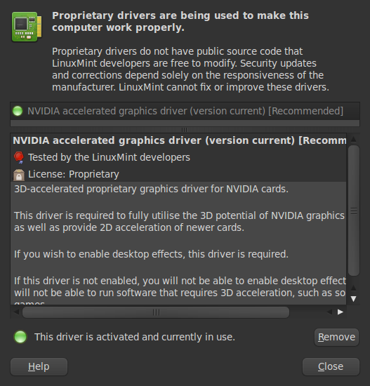 linux video driver options