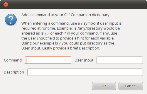 Dialog box for adding a command
