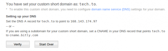 Verify DNS in bitly