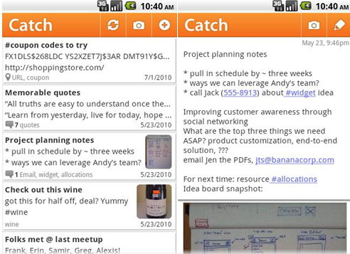 Application catch notes android