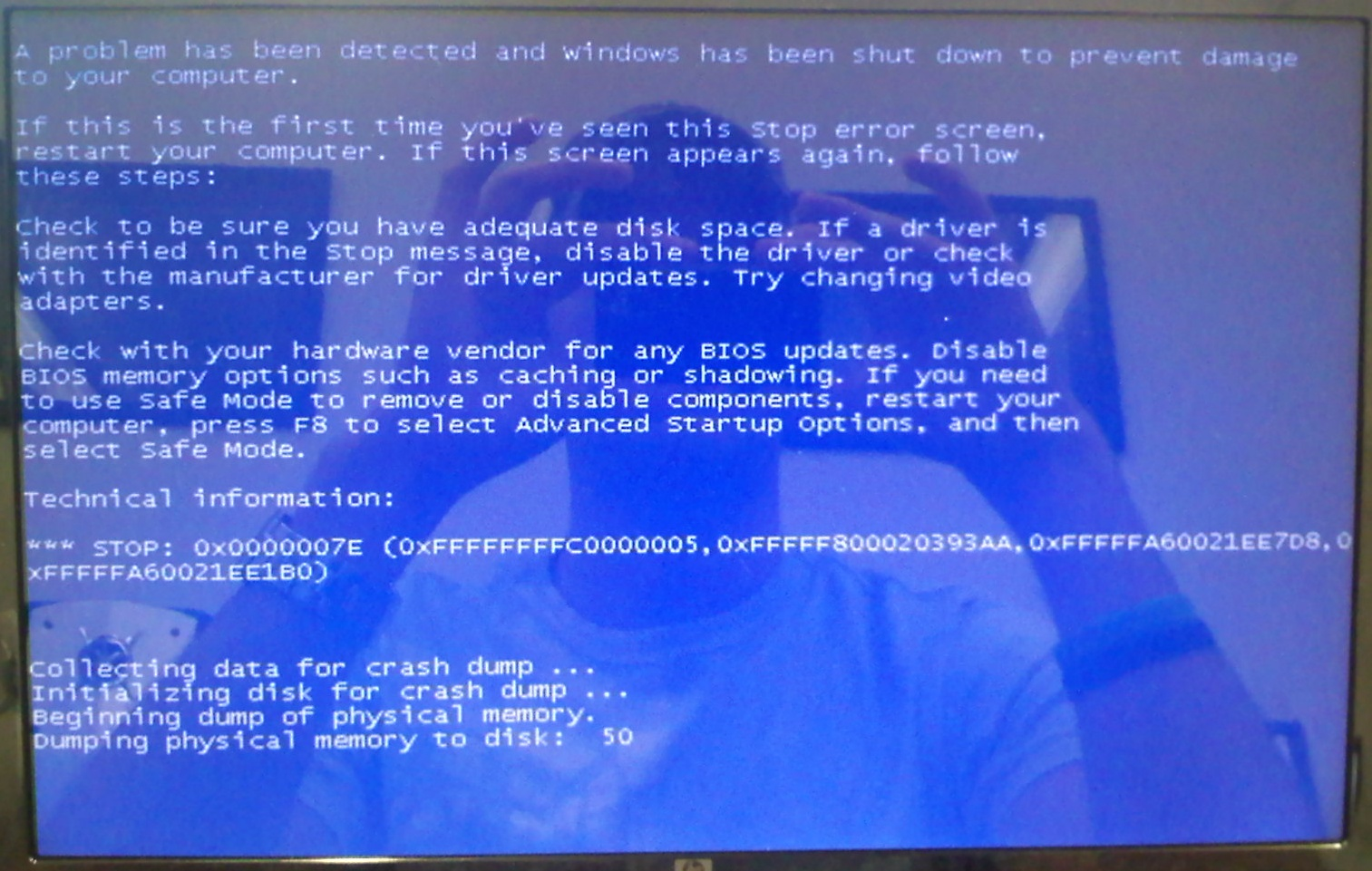 computer error blue screen memory dump