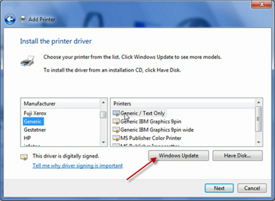 Windows Update Can T Find Printer Driver