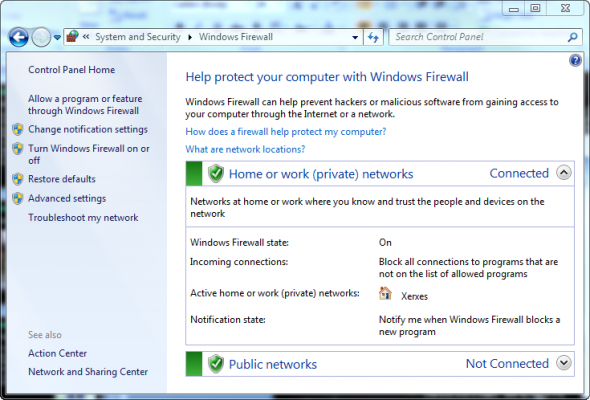 Windows Firewall in Windows 7
