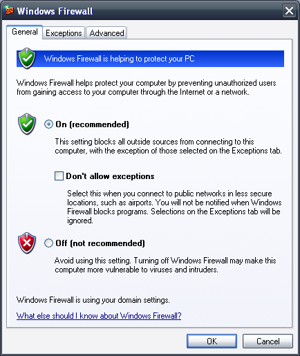 Windows Firewall in Windows XP