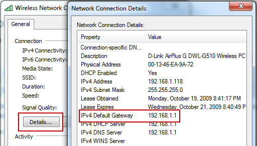Gateway Address in Connection Details