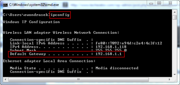 Gateway Address using ipconfig in Command Line