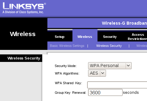 Wireless Security in Linksys Firmware