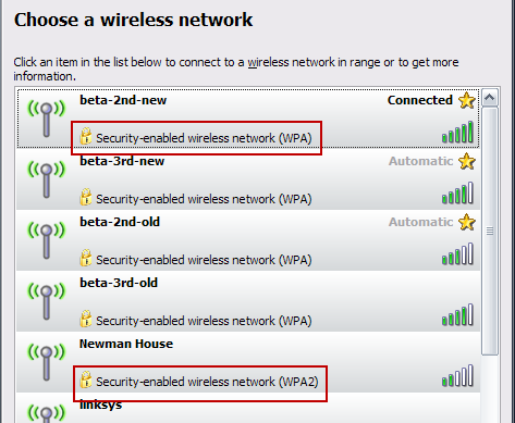 Wireless Security in Windows XP (WPA and WPA2 highlighted)